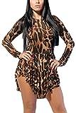 Frauen Heißen Lange Ärmel Um Den Hals Leopardenmuster Asymmetrischer Rock - Kleid Leopard L
