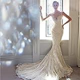 LUCKY-U Hochzeitskleid, Frau Elegant Brautkleid Hochzeit Accessoire V-Neck Mermaid Kleider,XS