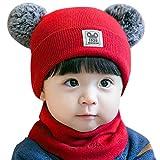 Mitlfuny Unisex Baby Kinder Jungen Zubehör Säuglingspflege,Neugeborenes Kind Baby Boy Girl Pom Hut Winter Warm Knit Crochet Beanie Cap Schal Set