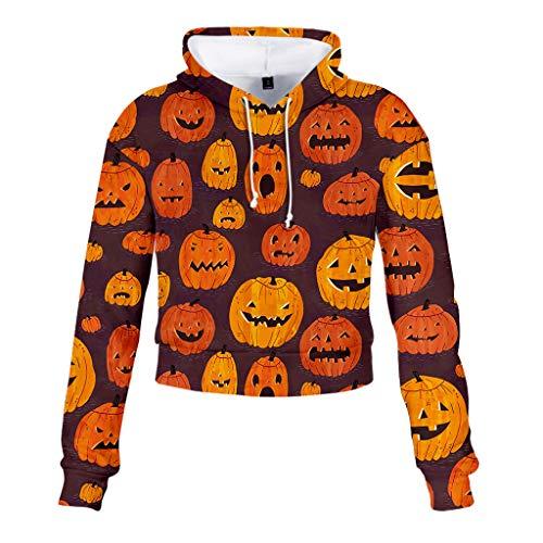 LILIGOD Frauen Kapuzenpullover Halloween Langarm Pullover Damen Sexy Den Nabel freilegen Langarmshirts Lässig Mode Hoodie Sweatshirt Top Print Kapuzen-Sweatshirt Bequem Wild Bluse -