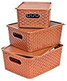 FAIR FOOD- Basket For Storage Set of 3 With Lid Brown Color Sizes Large- 22x29x12 / Medium 20x26x11 / Small 18x22x13 Centimeters