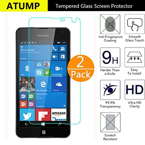 Nokia Lumia 650 Screen Protector, Atump[2 Pack] Premium Tempered Glass Screen Protector for Nokia Lumia 650 9H Hardness and Easy Bubble-Free Installation Invisible Shield Film Guard Cover