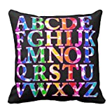 Bags-Online Decorative Square Colorful Rainbow Scrawl English Alphabet Pillow Case Covers Home Decor Design for Sofa Two Sides 20X20 inch
