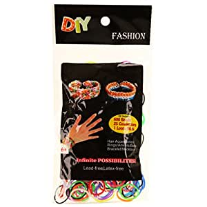 DIY Rubber Band Bracelets Loom Kit Comes with 600 MIX Color Rubber Bands