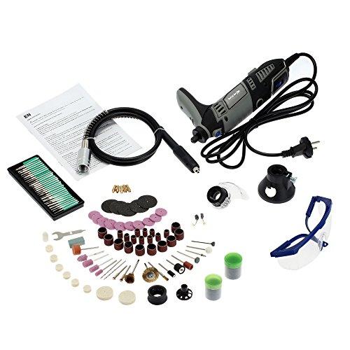 KKmoon 220-240V AC Regel Schleifer Werkzeug, Multifunktion Professional Elektrisches Schleifset mit Flexibler Welle und 167 Stück Zubehör für Mahlen Polieren Bohren Schneiden Gravur-Installationssatz