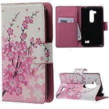 LG L Fino D290N Case,Funda de Cuero Protección Cartera Flip Case Piel Carcasa para LG L Fino D290N D295 Cover Funda Cubierta Caso Cubrir con ranuras Tarjetas-Flor rosa