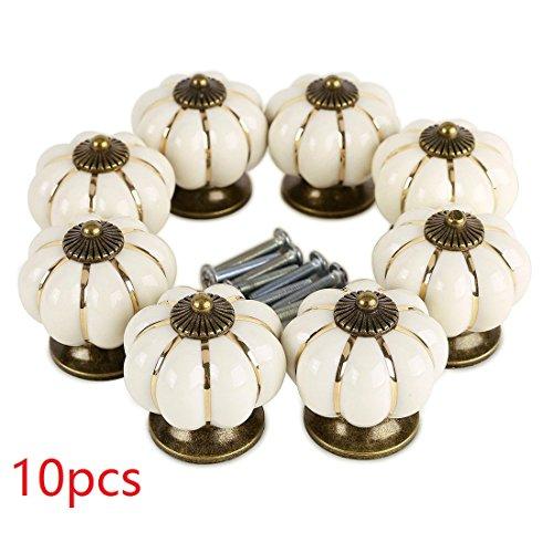 Preisvergleich Produktbild 10ST Möbelknopf set, WOLFBUSH Kürbis gestalten Möbelknopf Möbelknauf,Möbelknöpfe, Möbelgriff - Weiß