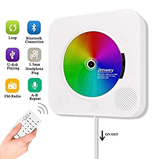 Portable CD Player, Jimwey Wall Mountable Bluetooth Built-in HiFi Speakers, Home Audio FM Radio USB MP3 Music Player, 3.5mm Headphone Jack AUX Input/output With Pulling-Switch/ Remote Control (White)