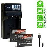 LOOkit Chargeur + 2x 3P Batterie pour Panasonic Premium BCM13 / 1200mAh - LI-ION -- pour Panasonic TZ70, Panasonic TZ57, Panasonic TZ71, Panasonic TZ58, TZ60 , TZ55, TZ61, TZ56, TZ40, TZ41, FT5, ZS30, TS5