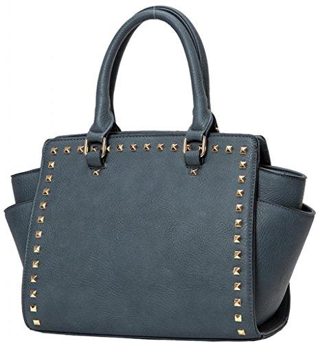 Kukubird Trapezium Metal Stud Faux Leather Classic Tote Large Handbag Denim Blue