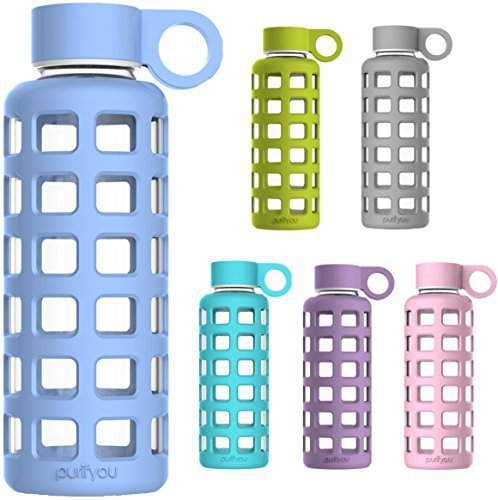 flasche mit Silikonhülle und Edelstahl-Deckeleinsatz 340 g babyblau (Gläser Stroh)