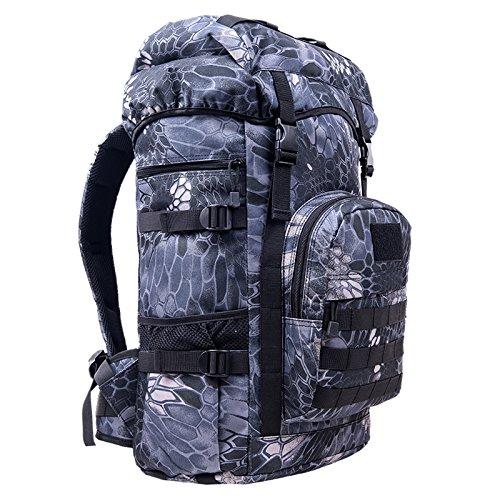 Dlflyb Outdoor Bergsteigen Tasche 50 L Männer Und Frauen Rucksack Reisen Kapazität Rucksack Reisen Sport Bag Camouflage Tasche Computer Bag Black Python