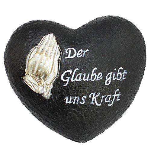 (com-four® Deko Herz Glaube, in Steinoptik, als Grabschmuck, 12 x 10,5 x 6 cm (01 Stück - Spruch 8))