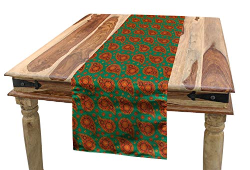 ABAKUHAUS Hot Pink Tischläufer, Mandala Blumenmuster, Esszimmer Küche Rechteckiger Dekorativer Tischläufer, 40 x 300 cm, Mehrfarbig