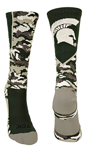 TCK Michigan State Spartans Camo Crew Socken, Jungen Damen Mädchen Herren, Dark Green/Grey/White, X-Large -
