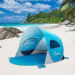 WolfWise UPF 50+ UV Schutz 3-4 Personen Strandmuschel, Pop Up Familien/Baby Sonnenschutz Strandzelt, Selbstaufbauend Automatisch Schutzzelt Sonnenschirm, Tragbar