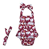QinMM Infant Baby Strampler Mädchen und Jungen Animal Rüschen Overall Outfits Sommer Kleidung Cute Outfit Print Cute Fashion Baumwolle Rot 6M-18M (6M, Rot)