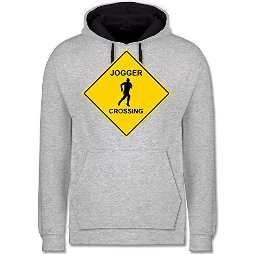 Laufsport - Jogger - Kontrast Hoodie Grau meliert/Dunkelblau