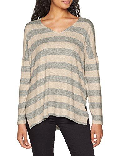 ONLY Damen onlMAYE L/S Stripe Vneck CC KNT Pullover, Mehrfarbig (Hazelnut Melange W. Lgm), 40 (Herstellergröße: L) -