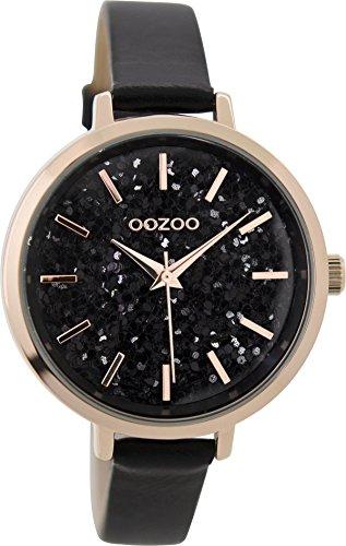 Oozoo Damenuhr mit Lederband 38.5 MM Rose/Glitzer/Schwarz C9224