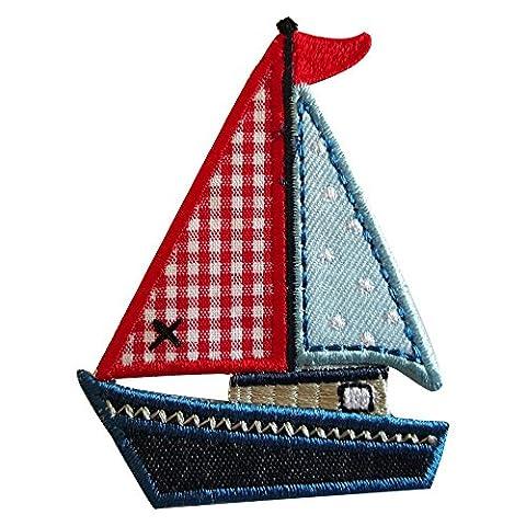 2 Ecussons patch appliques Yacht 8X6Cm Papillon 10X7Cm thermocollant brode broderie pour vetement jeans veste enfant bebe femme avec dessin TrickyBoo Zurich Suisse pour France