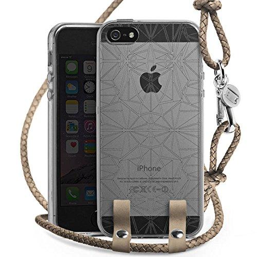 Apple iPhone SE Carry Case Hülle zum Umhängen Handyhülle mit Kette Transparent mit Muster Mandala Kaleidoskop (Kaleidoskop-muster)