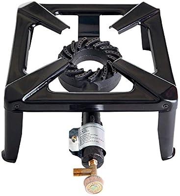 Paella World International Gas-Hockerkocher, groß ohne Zündsicherung, Schwarz, 40 x 40 x 17 cm