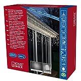 Konstsmide 3738-102 LED Eisregen Lichtervorhang / für Außen (IP44) /  Batteriebetrieben: 4xD 1.5V (exkl.) / mit Lichtsensor, 6h und 9h Timer / 80 warm weißen Dioden / weißes Kabel