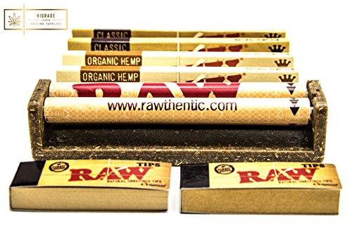 % Rolling Machine per sigarette King Raw con 4 letti Raw Rolling Paper e 2 libretti di Rolling Tips Raw miglior prezzo