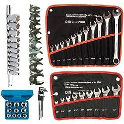 6 x Werkzeug Set ZOLL SAE INCH Steckschlüssel-Satz, kurze und lange Ring-Gabelschlüssel, Hahnenfuss-Schlüssel, extra lange Innensechskant Einsatz für Innen-6-kant Schrauben/Innensechskant 58-tlg.