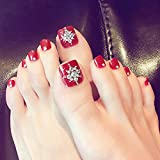 lzn 24 x künstliche Fußnägel, Toe Nail Tips Rot Shining Rhinestone Frauen Damen Fake Toes Nägel mit Kleber Toe Art Tool