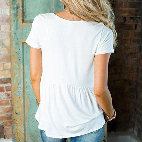 Oyedens Femme Manche Courte Lâche Chemisier Blouse Femme T Shirt Tops Hauts Chic Chemisier Femme Eté Col V Chemise Femme Casual Vetement Femme Pas Cher Blanc