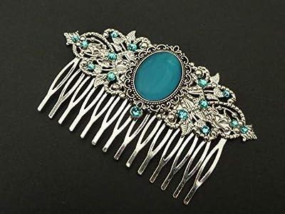 Peigne à cheveux large avec cabochon à oeil de chat en argent turquoise