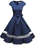Gardenwed Annata 1950 retrò Rockabilly Polka Vestito da Audery Swing Abito da Cocktail Partito con Maniche Corte Navy Small White DOT DOT S