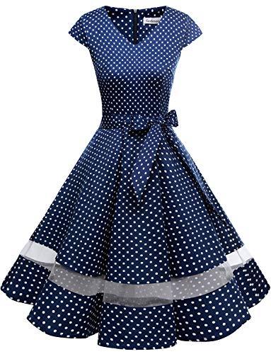 Gardenwed 1950er Vintage Retro Rockabilly Kleider Petticoat Faltenrock Cocktail Festliche Kleider Cap Sleeves Abendkleid Hochzeitkleid Navy Small White Dot Dot - Mutter Baby Mädchen Kostüm