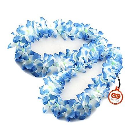 2pcs Blue White Plumeria Hawaiian Lei Flower Hawaii Garland Hula Fancy Dress Luau Wedding Beach Party Accessories