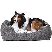 SONGMICS Weiches Hundebetten mit beidseitig verwendbarem innenkissen, rutschfest, M, Außenmaße :80 x 60 x 26 cm PGW26G