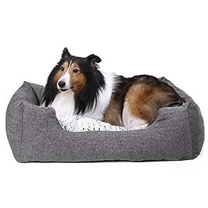 SONGMICS Hundebett, Hundekorb mit Wendekissen, Hundesofa, Hundematte, gemütlich, atmungsaktiv, Rutschfest, erhöhter Rand, 80 x 60 x 26 cm, für Hunde bis 15 kg, grau meliert PGW26G