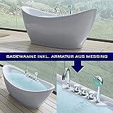 MAI&MAI - Freistehende Badewanne Vicenza603, inkl. Armatur, Farbe: Weiß, Material: Sanitäracryl