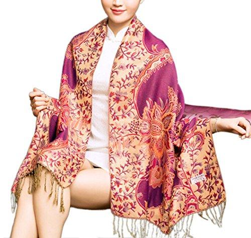 """Cloud-Y Elegante Echarpe Chale/ Foulard-Imprime-Femme Style Ethnique Motif Floral/ Taille:70.87""""x 27.56"""" Violet"""