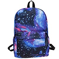 Gorgebuy Starry Sky Backpack - Canvas Satchel Galaxy Schoolbag Sports Bags - Knapsack Rucksack for Harajuku Boys and Girls (Starry Blue)