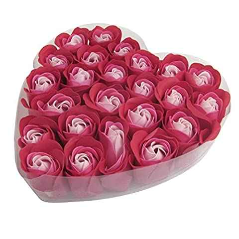 24 Pcs Red Scented Bath Soap Rose Petal in Heart