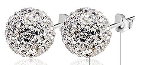 SaySure - 925 Sterling Silver AAA Zircon 10MM Ball Stud Earrings