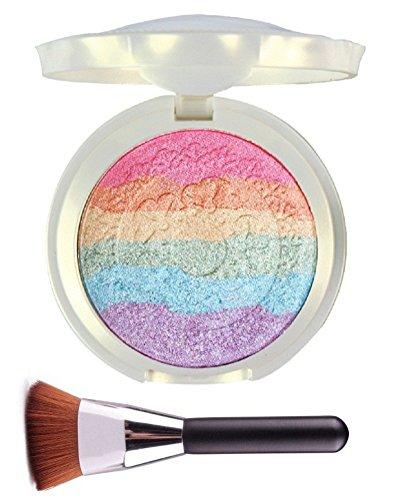 ucanbe arcobaleno + Pennello: evidenziatore Fard ombretto trucco tavolozza Iluminador