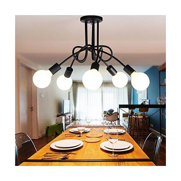 Luminaire Plafonnier Edison 5 Tetes Metal Fer Lampes Vintage Industrial Plafonnier Lampe De Suspension Luminaire E27 Retro Salle De Salle A Manger