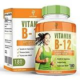 Vitamina B12 Metilcobalamina - 1000mcg - Vit B12 Alta Concentración - Para Hombres y Mujeres - Apto Vegetarianos - 180 Pastillas (Suministro Para 6 Meses) de Earths Design