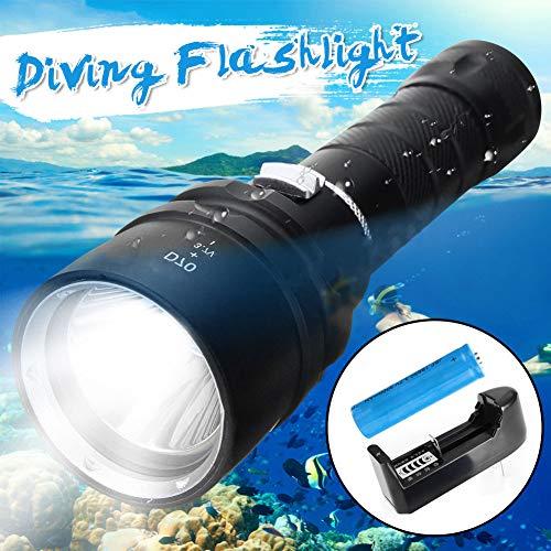 P12cheng LED-Taschenlampe, Handtaschenlampe, Unterwasser-Taschenlampe, 100 m, 50000 lm, T6 LED, wasserdicht, Tauch-Taschenlampe (Maglite Led-taschenlampe-halter)