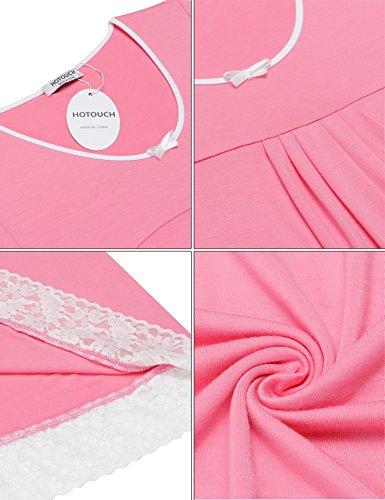 HOTOUCH Damen Kurzer Ärmel Nachthemd Nachtwäsche Mit Edler Spitzenverzierung Nachtkleid Baumwolle A-Line Typ1-Rosa