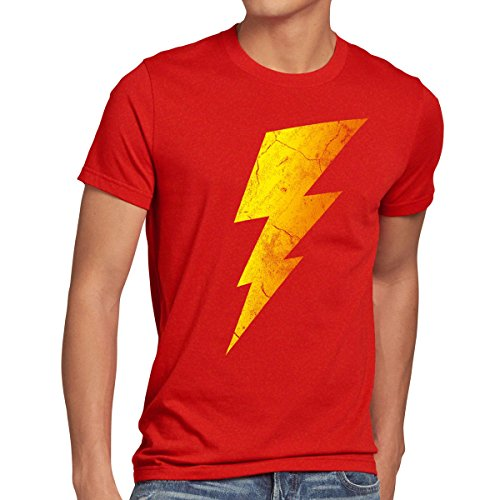 CottonCloud Sheldon Lightning Bolt Herren T-Shirt, Größe:L;Farbe:Rot