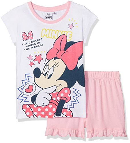 Mädchen Zweiteiliger Schlafanzug 2tlg, Gr. 128 (Herstellergröße: 8Y/128CM), Weiß (White 001) (Minnie Kleid)